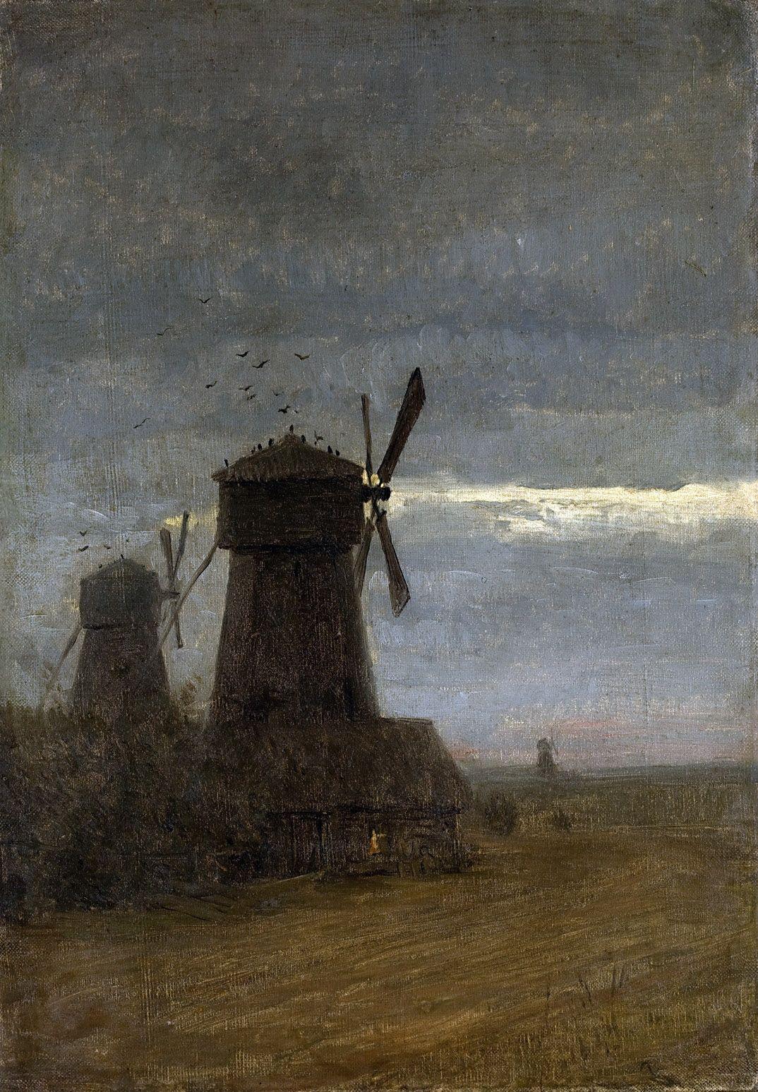 Isaac Levitan. Windmills. Late twilight