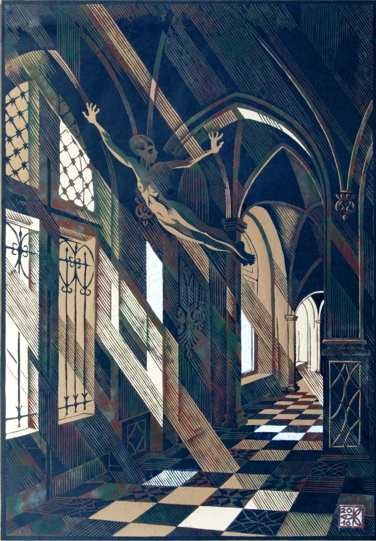"Vladimir Kataev. ""Flying in the interior-4"", Х3М, C, 1/3, craft, applique, 65/45, 2016"