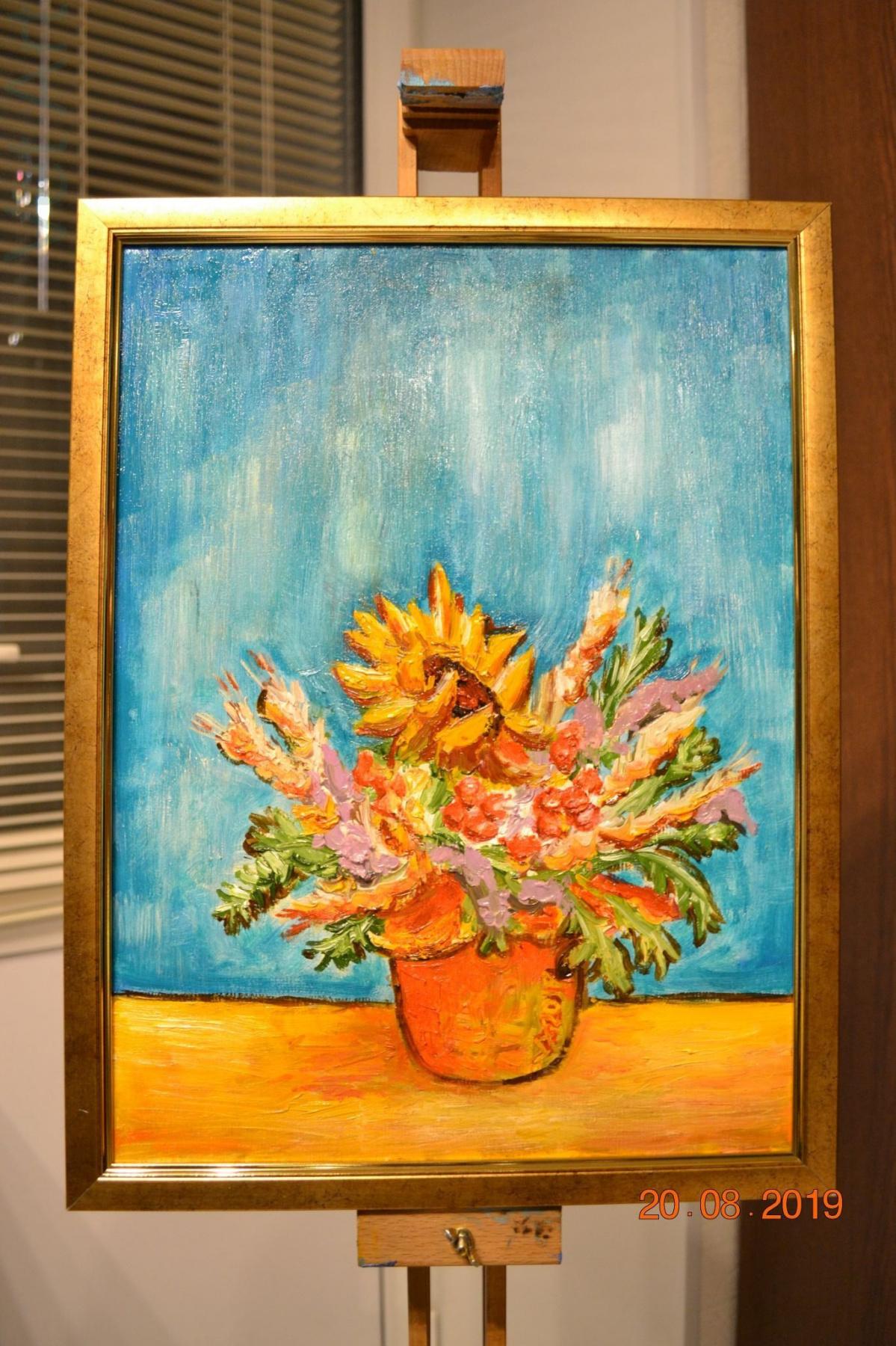 Konstantin Vizgalin. Bouquet with a sunflower