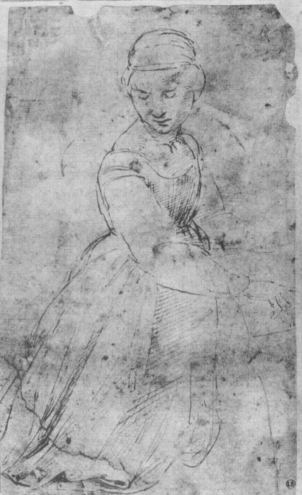 Raphael Sanzio. Sketch of a young woman for the image of the kneeling Saint