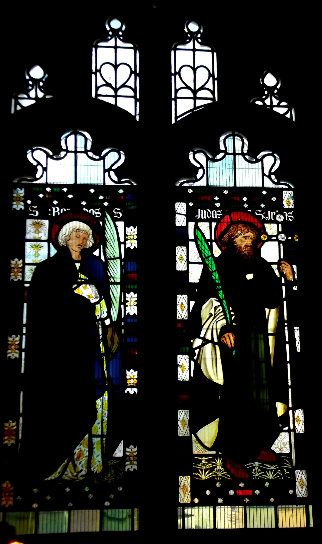 William Morris. Stained glass in the Cathedral of Bradford, on Stott Hill, Bradford, West Yorkshire, England