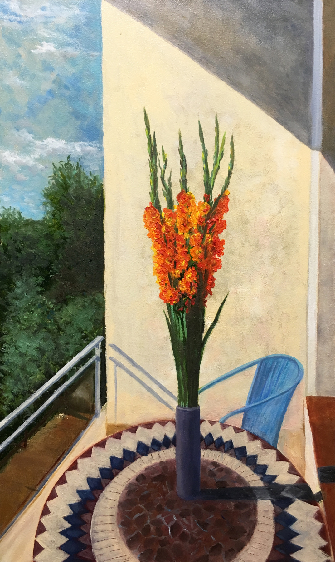 Albert Safiullin. Gladiolus on the balcony