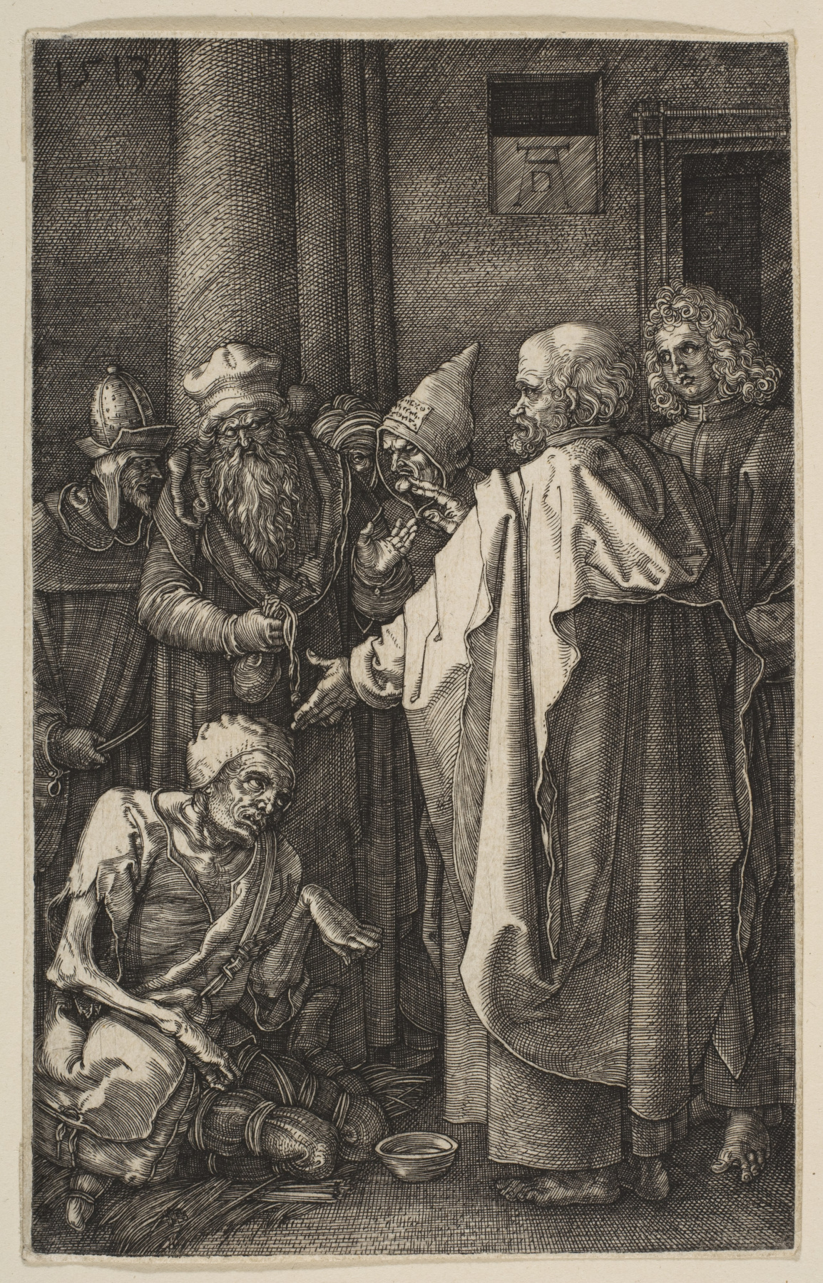 "Albrecht Dürer. Saints Peter and John heal a paralytic. From the cycle ""the passion of the Christ"""