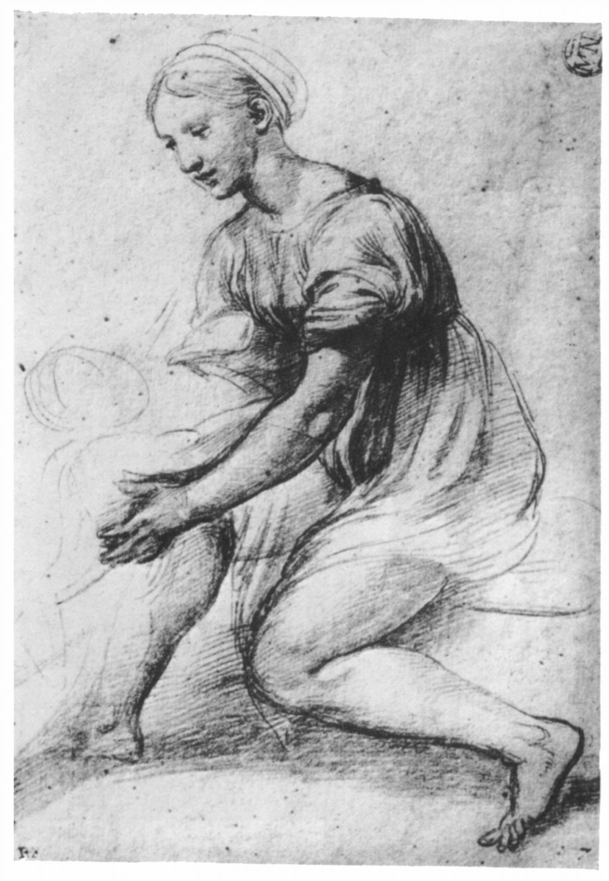 Raphael Sanzio. Sketch of a woman with a child for Holy family