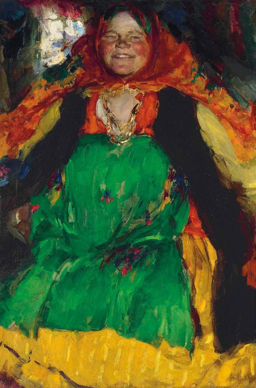 Abram Arkhipov. Peasant woman in a green sundress