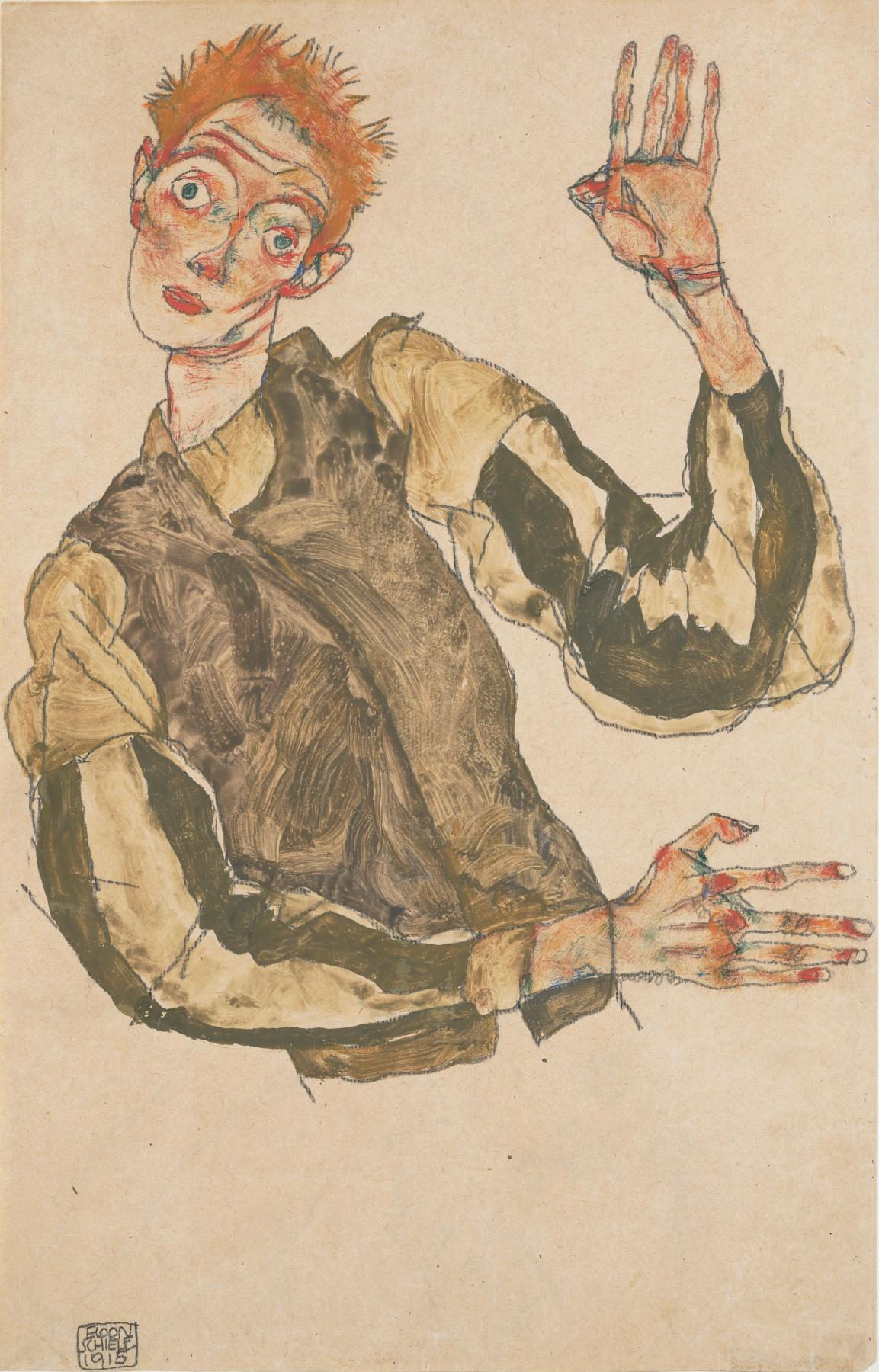 Egon Schiele. Self-portrait with striped armlets