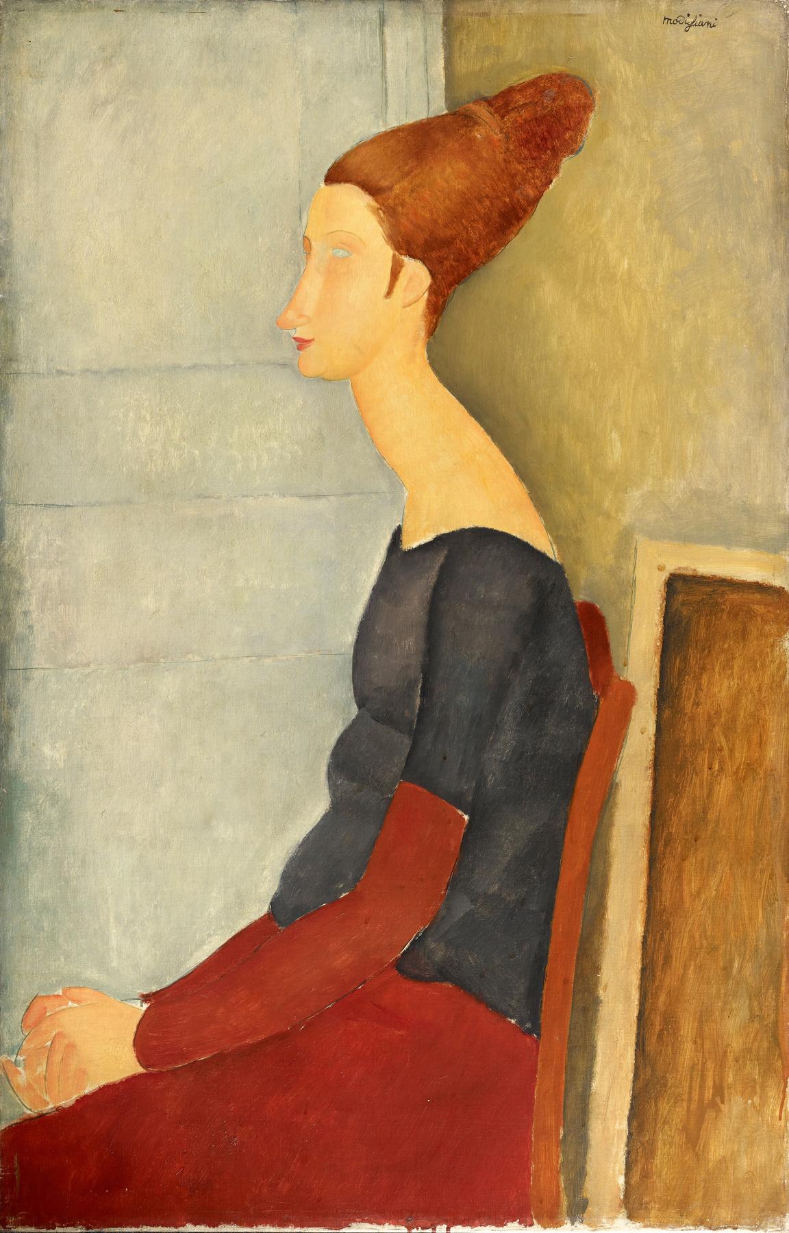 Amedeo Modigliani. Seated portrait of Jeanne hebuterne in profile (in dark clothes)