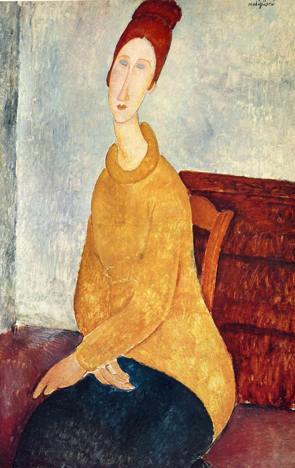 Amedeo Modigliani. Portrait of Jeanne hébuterne in yellow sweater