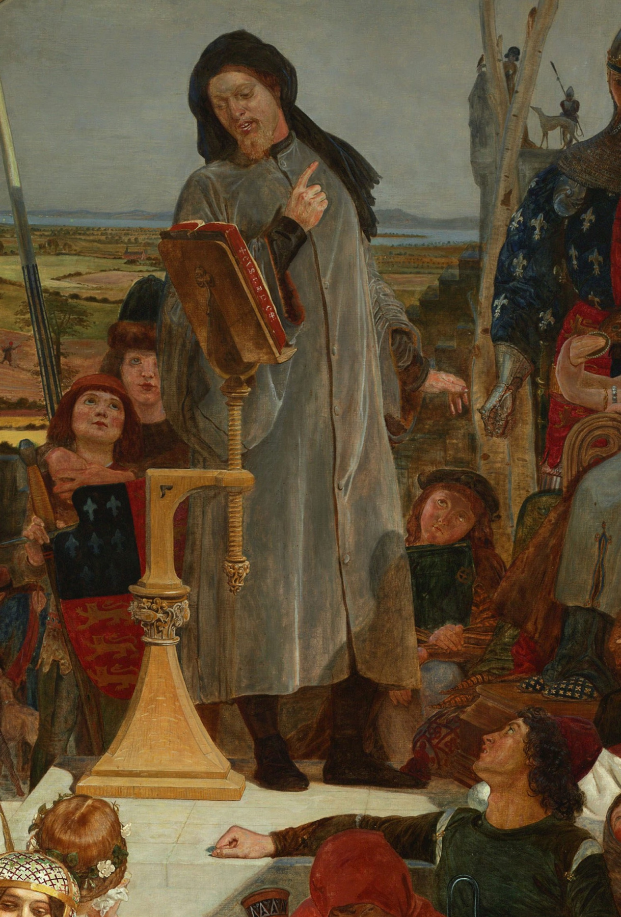 Ford Madox Brown. Geoffrey Chaucer at court of Edward III. Fragment. Performance poet