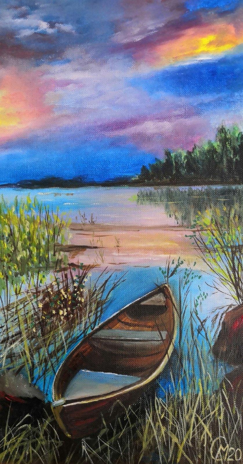 Мария Евгеньевна Сироткина. Boat at sunset