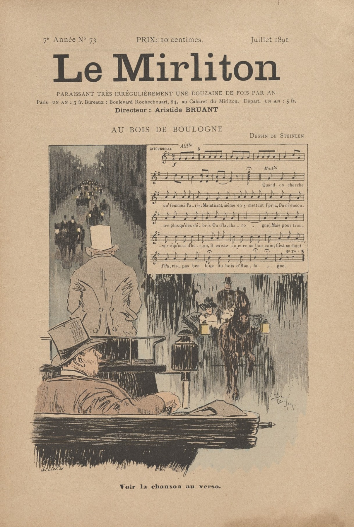"Theophile-Alexander Steinlen. Illustration for the magazine ""Mirliton"" No. 73, July 1891"