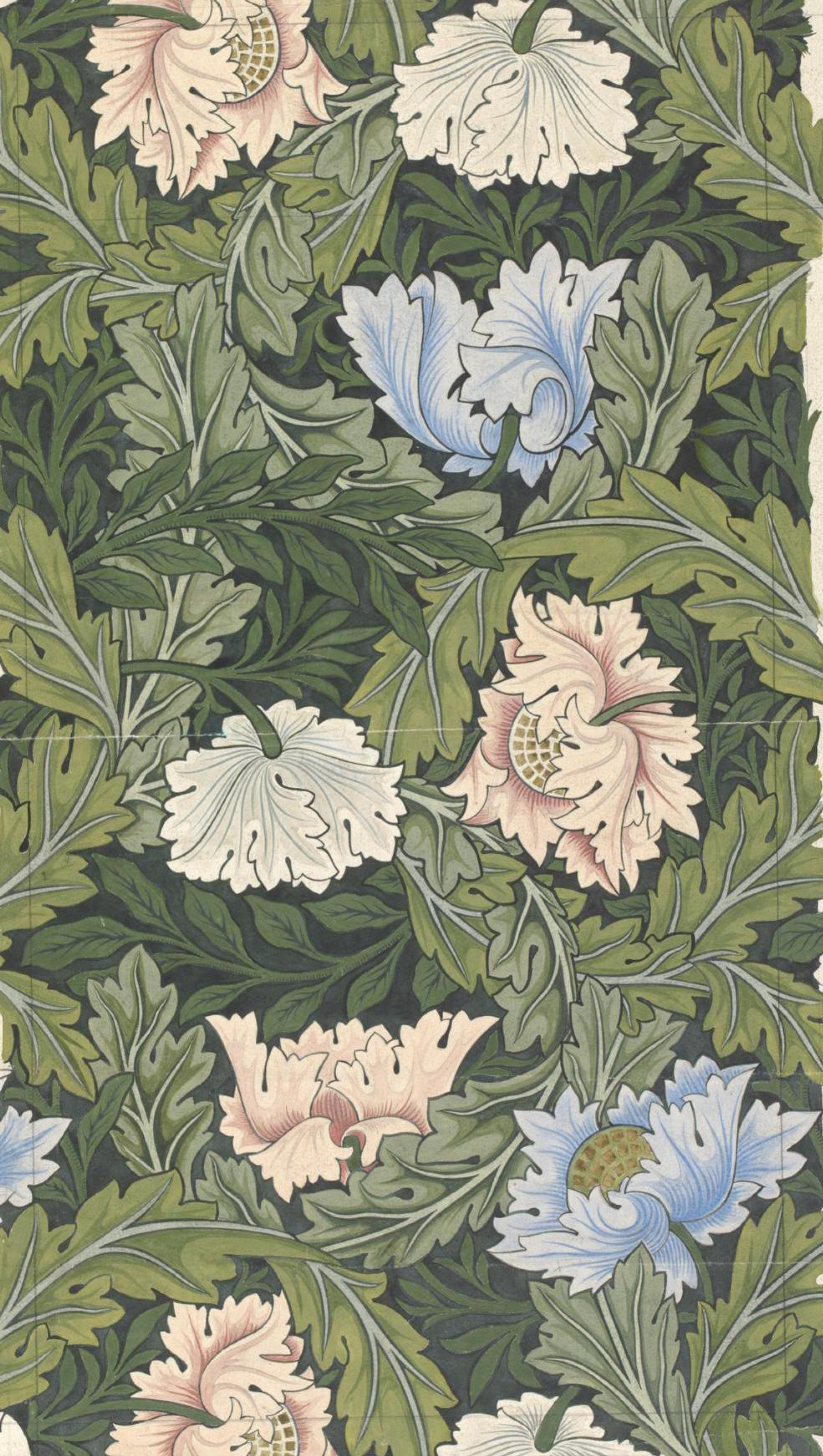 William Morris.  Design floral avec coquelicots roses