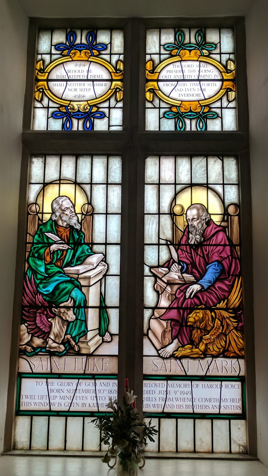William Morris. Saint Luke and Saint Mark. Stained glass window in the Old House of Assembly, Mansfield, Nottinghamshire