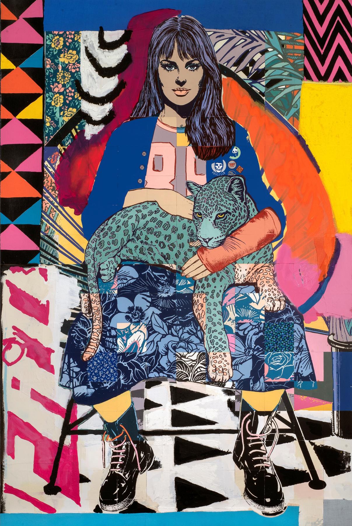 Fail art. Girl with a leopard