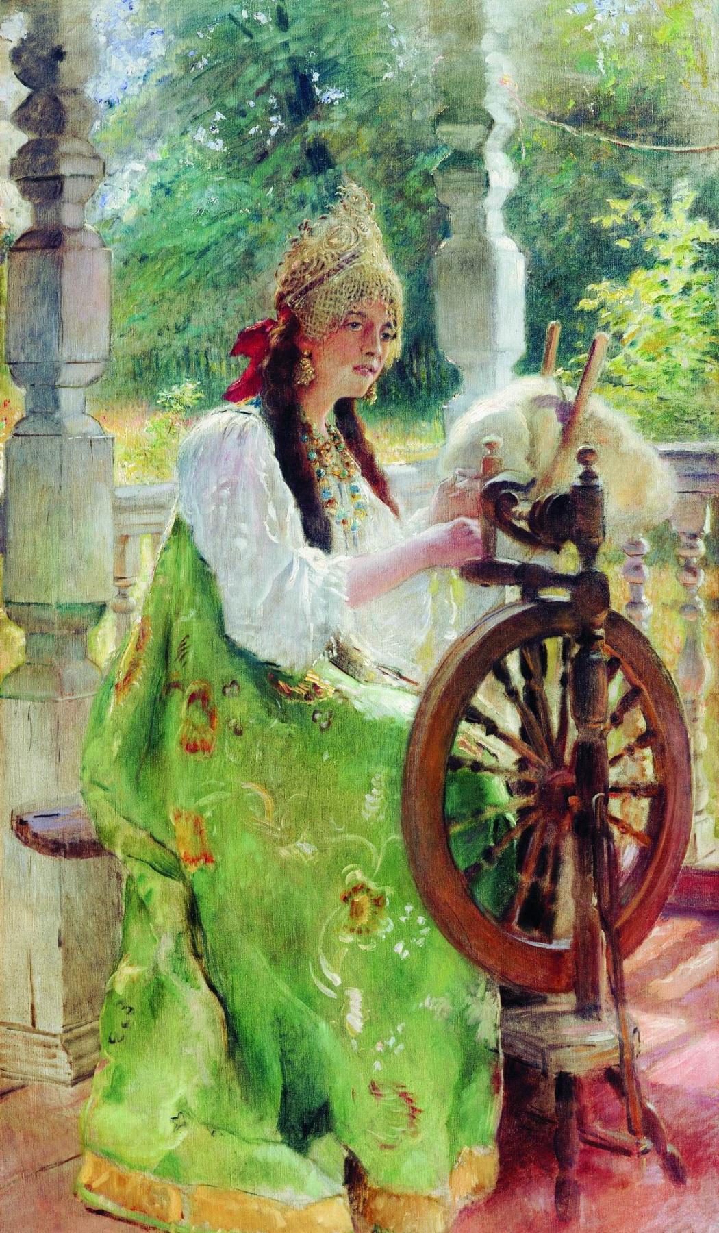 Konstantin Makovsky. Spinning wheel (a Portrait of his daughter Olga?)