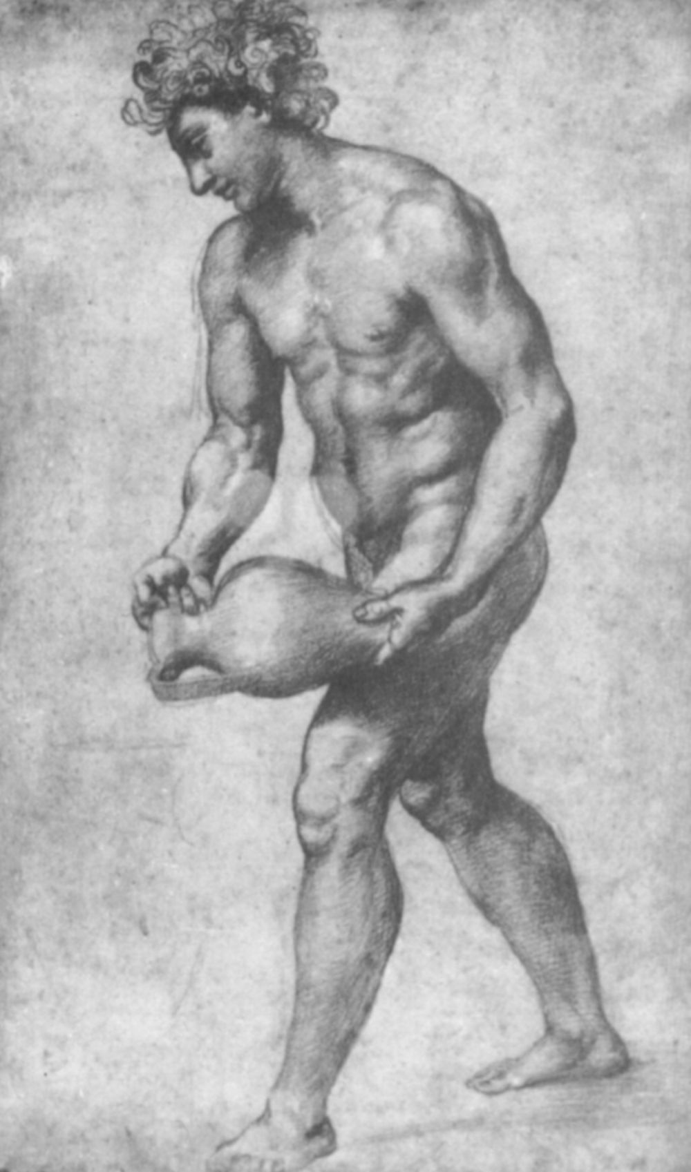 Raphael Santi. Study for the frescoes of the Loggia of psyche, Bacchus with amphora for wine
