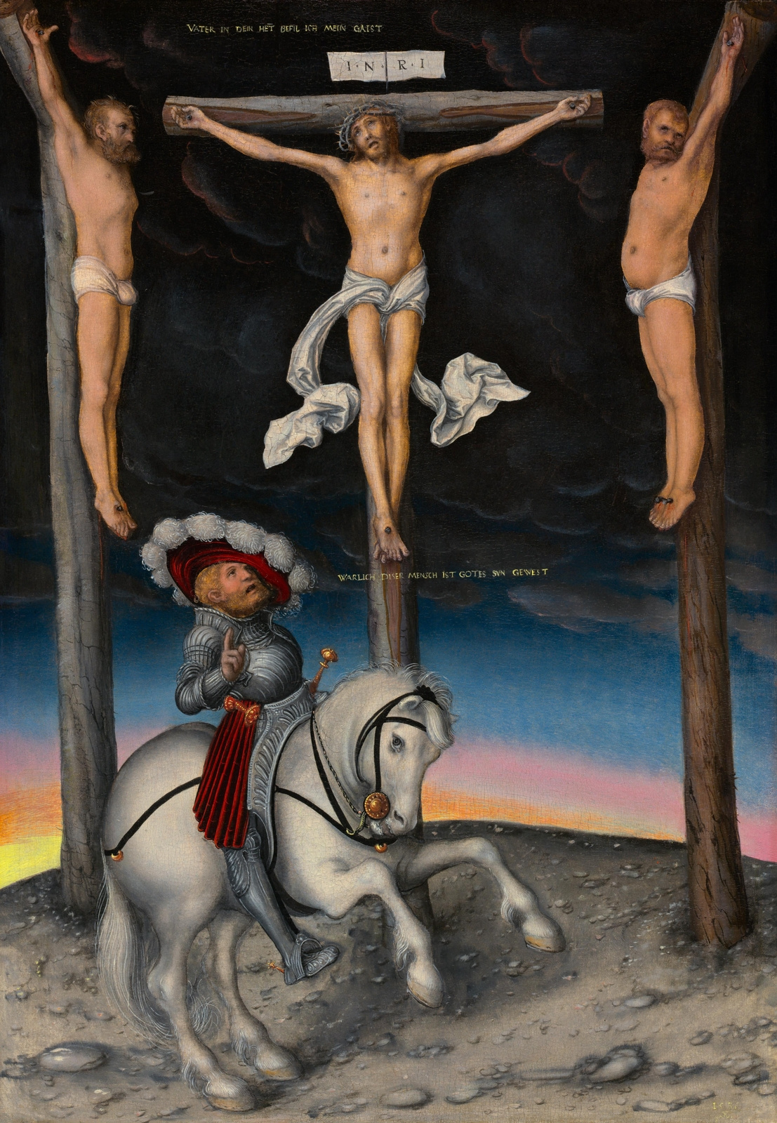 Lucas Cranach the Elder. The crucifixion with the converted centurion by Longin