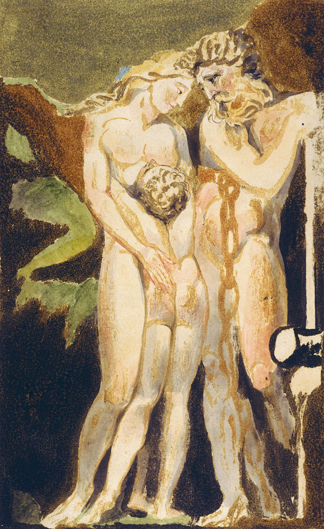 William Blake. The first book Urizen. Los in chains of jealousy, Enitharmon and Orc