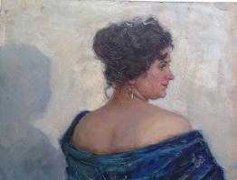 """Константин Петрович Фролов. """"Портрет женщины с синим платком"""""""
