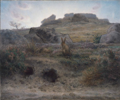 Jean-François Millet. Dawn and rabbit holes
