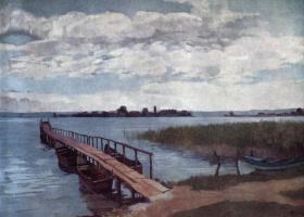 Генрих Вильгельм Трюбнер. Лодочный причал на острове Херренинзель в озере Кимзе