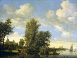 Саломон ван Рёйсдал. Речной пейзаж с паромом