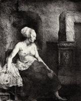 Рембрандт Харменс ван Рейн. Обнаженная у печки