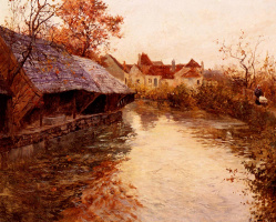 Frits Thaulow. River scene in the morning