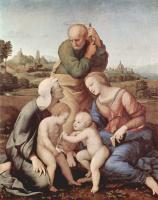Рафаэль Санти. Святое семейство Каниджиани, сцена: Святое семейство со св. Елизаветой и св. Иоанном Крестителем