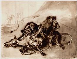 Эжен Делакруа. Львы, терзающие лошадь