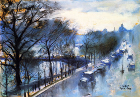 Lesser Ury. Paris, a rainy day on the quay Voltaire