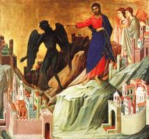 Дуччо ди Буонинсенья. Дьявол искушает Иисуса