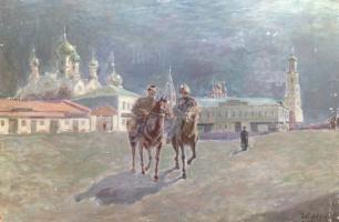 """Иван Никандрович Нефедов. Эскиз к картине """"Наступление революции в 1905г."""""""