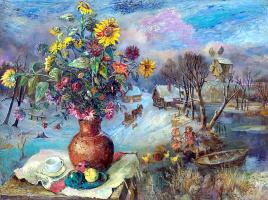 David Davidovich Burliuk. Winter still life