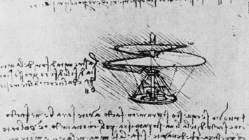 Leonardo da Vinci. The drawing of the helicopter