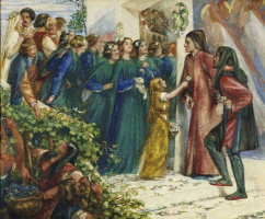 Dante Gabriel Rossetti. The meeting of Dante and Beatrice in a strange wedding. Sketch