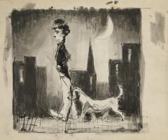 Моисей Александрович Фейгин. Чарли с собакой