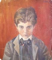 Эгон Шиле. Автопортрет на красном фоне
