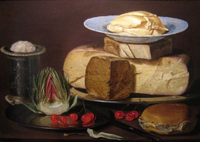 Клара Петерс. Натюрморт с сырами, артишоком и вишнями