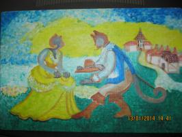 """Ольга Евгеньевна Климова. """"САГА"""", сказочное изображение в детскую комнату, темпера, картон"""