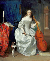 Габриель Метсю. Девушка, играющая на виолончели