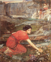 Джон Уильям Уотерхаус. Девушка собирает цветы у ручья. Этюд