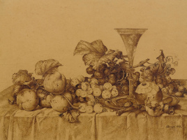 Johann Wilhelm Prairie. Still life with fruit, champagne and a tin dish. 1877