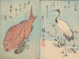 Утагава Хиросигэ. Диптих: Журавль и рыба