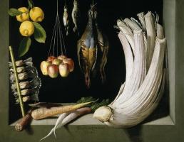 Хуан Санчес Котан. Натюрморт с убитой птицей, фруктами и овощами