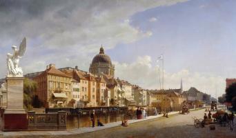 Эдуард Гертнер. Вид на фасады домов на Дворцовой площади