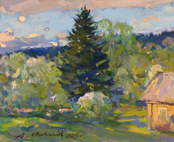 Alexander Victorovich Shevelyov. Tree of the house of Marcevich.Hardboard,oil, 23 x 28 cm 2015