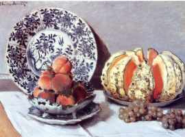 Клод Моне. Натюрморт - тыква, персики и виноград