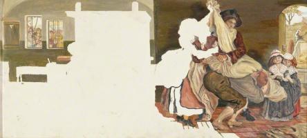 """Форд Мэдокс Браун. Незавершенный эскиз для фрески """"Джон Кей, изобретатель летающего ткацкого челнока"""""""