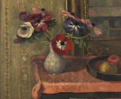 Альбер  Андре. Ваза с цветами и фруктами на столе